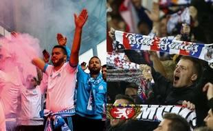 Des supporters marseillais et lyonnais, la saison dernière, en Ligue Europa.