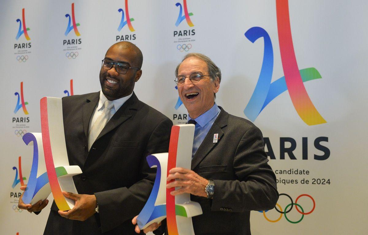 Teddy Riner et Denis Masseglia lors d'une présentation de la candidature de Paris 2024 à la Philharmonie de Paris, le 17 février 2016.  – ISA HARSIN/SIPA