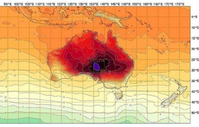 Une carte des températures en Australie durant la vague de chaleur de janvier 2013.