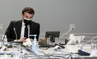 Emmanuel Macron lors d'une réunion à l'Elysée.