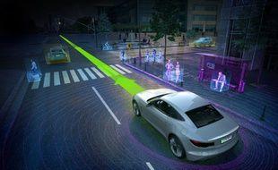 Illustration de la vision du système Drive PX 2 de Nvidia.