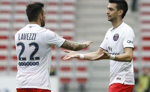 Lavezzi et Pastore lors du match Nice-PSG (1-3) le 18 avril 2015.