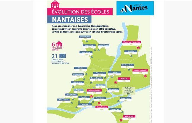 Carte des projets de création et d'agrandissement d'écoles à Nantes