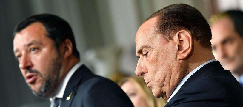 Matteo Salvini, chef de la Ligue, et Silvio Berlusconi, président de Forza Italia, le 7 mai 2018 à Rome.