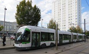 Nantes, le 29 octobre 2014, le tramway ligne 1 place des Lauriers
