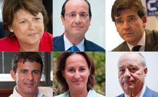 Montage des six candidats aux primaires socialistes.