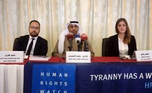 Nadim Houry (à gauche), lors d'une conférence de presse organisée par Human Rights Watch en février 2015.