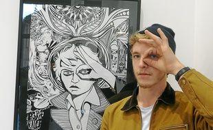 Auto-portrait de Pierre-Loup Auger, l'une des 14 toiles exposées à Grenoble.