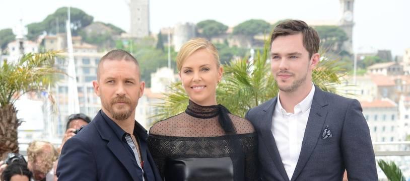 Les acteurs de «Mad Max: Fury Road» Tom Hardy, Charlize Theron et Nicholas Hoult, au 68e Festival de Cannes