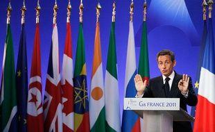 Nicolas Sarkozy lors de la conférence de presse de clôture du Sommet de Deauville, le 27 mai 2011.