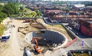 Le chantier du bassin de stockage de Roubaix.