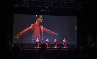 Kraftwerk sur scène en Slovaquie, le 10 juillet 2014.