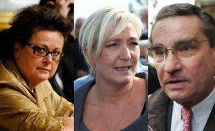 Montage photo: Christine Boutin, Marine Le Pen et François Lebel en 2012.