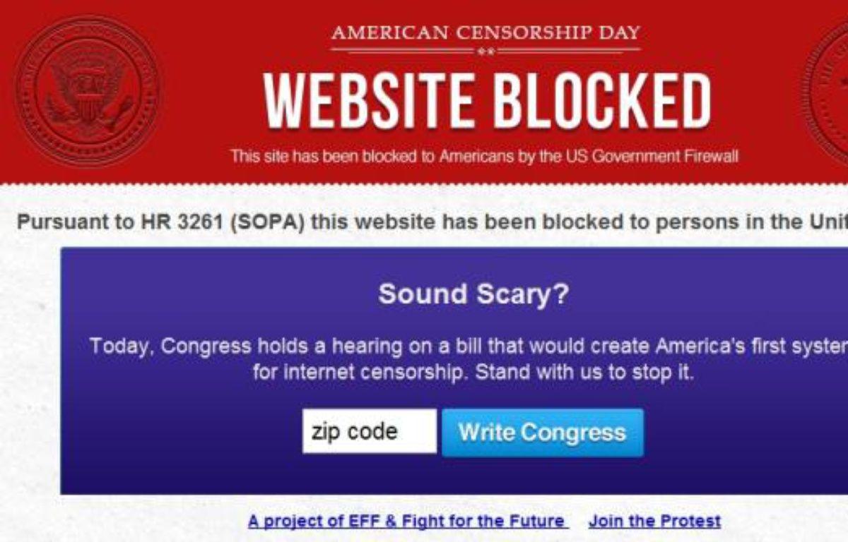 Une bannière de protestion contre le projet de loi américain de lutte contre le piratage SOPA. – ELECTRONIC FRONTIER FOUNDATION