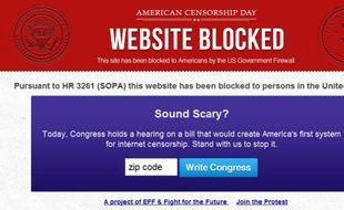 Une bannière de protestion contre le projet de loi américain de lutte contre le piratage SOPA.