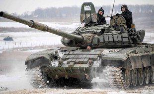Un char T-72B3 de l'armée russe.