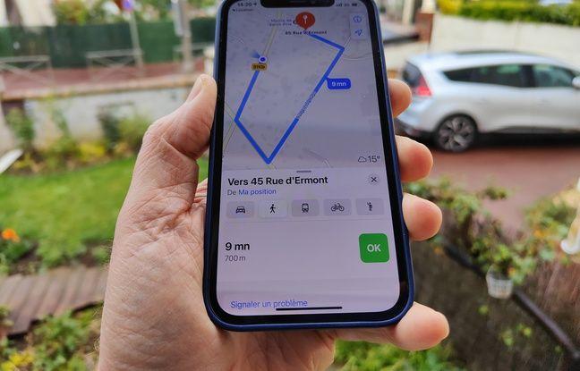 L'application Plans d'Apple sert de guide jusqu'à l'AirTag qui a été localisé.