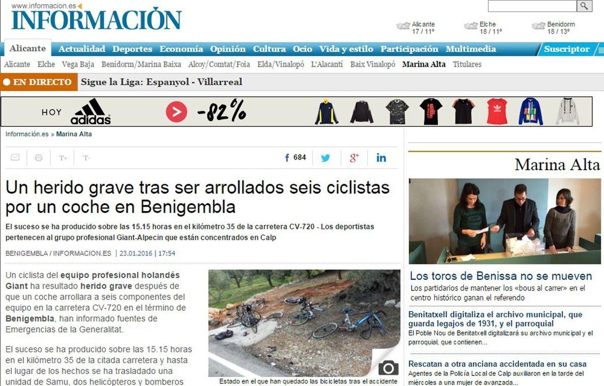 Capture d'écran du journal Informacion, qui publie une photo de l'accident. – Informacion.es