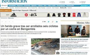 Capture d'écran du journal Informacion, qui publie une photo de l'accident.