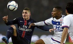 Verratti et Beauvue lors du match PSG-Lyon du 13 décembre 2015 en Ligue 1.