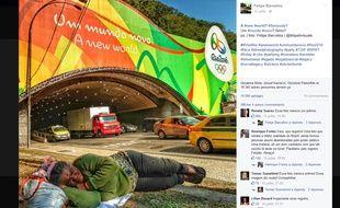 La photo virale d'une femme dormant sous un panneau vantant les mérites des JO de Rio