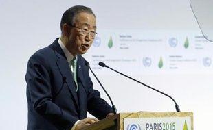 Le secrétaire général de l'ONU, Ban Ki-moon lors de la conférence internationale (COP21) qui s'est ouverte le 30 novembre 2015 à Paris