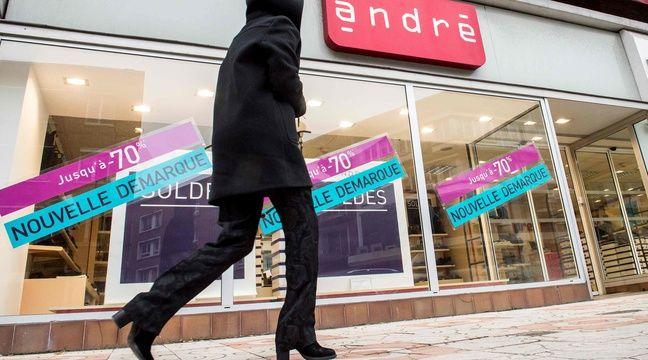 L`enseigne de chaussures André, première entreprise victime...