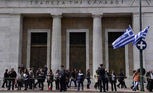 Le siège de la banque nationale grecque le 24 mars 2015 à Athènes