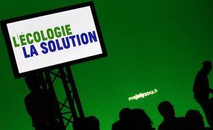 Roubaix, le 11 f?vrier 2012. La candidate d'Europe Ecologie Les Verts (EELV), Eva Joly, donne le premier meeting de sa campagne ?lectorale salle Wattremez.