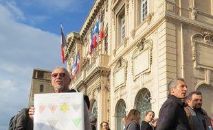 Marseille le 3 Décembre 2014. Manifestation contre la carte de santé pour les personnes SDF.