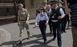 Cressida Dick, chef de la Scotland Yard,  l'inspecteur Mark Turner et le Général Ben Bathurst dirigent l'enquête sur l'attentat à Manchester, à Londres, le 24 mai 2017.