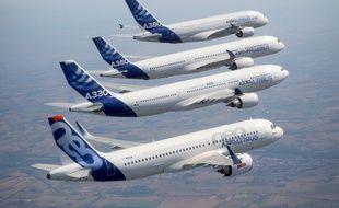 La flotte d'avions de l'avionneur européen Airbus.