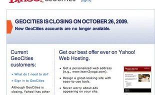 Capture d'écran du site Geocities