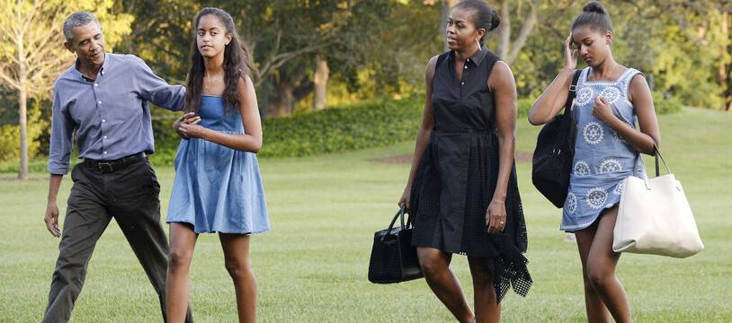 La famille Obama au complet. De gauche à droite: Barack, Sasha, Michelle et Malia Obama