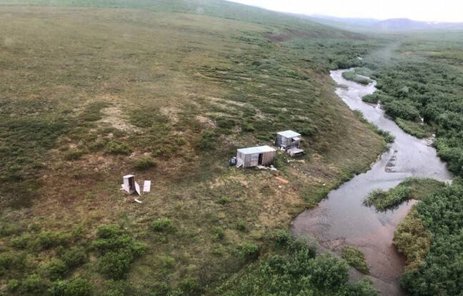 The mining camp in Alaska, where a crew from Coast Guard Kodiak Air Force Base rescued a bear attack survivor, July 16, 2021.