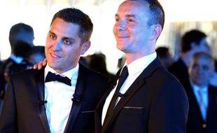 Vincent Autin (D) et Bruno Boileau lors de leur mariage à Montpellier, le premier célébré en France, le 29 mai 2013