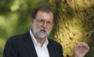 Le Premier ministre espagnol, Mariano Rajoy, a prononcé un discours à Cerdedo-Cotobade, le 27 août 2017.