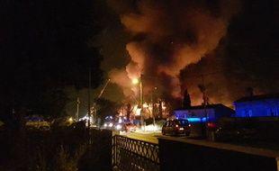 Incendie sur le site de production de la Charcuterie Bordelaise à Villenave d'orion