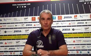 Denis Zanko lors de sa première conférence de presse comme entraîneur du TFC, le 9 janvier 2019 au Stadium de Toulouse.