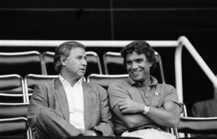 Michel Hidalgo et Bernard Tapie, le 15 août 1986.