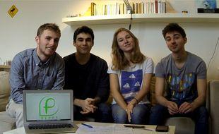 L'équipe des créateurs de Peppy : Thomas, Lucas, Clémentine et Léo.