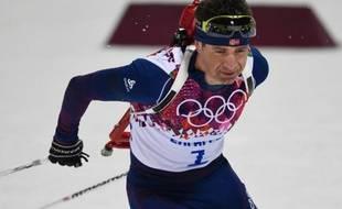 Le Norvégien Ole Einar Bjoerndalen dans la poursuite le 10 février 2014 à Sotchi