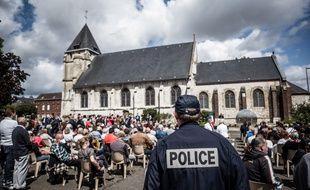 L'église de Saint-Etienne du Rouvray, dans laquelle le père Hamel a été tué, ici le 26 juillet 2020.