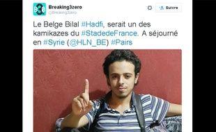 La page Twitter de Breaking3zéro qui montre la photo de Bilal Hadfi.