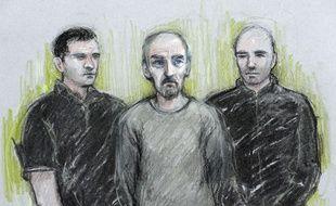 Dessin de Thomas Mair, le meurtrier présumé de la députée britannique Jo Cox, lors de son audition le 18 juin 2016 à Londres.