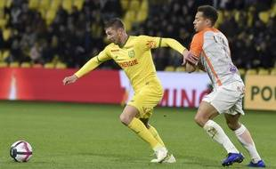 Emiliano Sala face à Montpellier mardi soir.