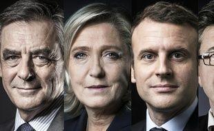 François Fillon, Marine Le Pen, Emmanuel Macron et Jean-Luc Mélenchon.