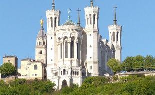 Lyon, le 27 avril 2016. Illustration de la basiilique de Fourvière à Lyon.