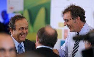 Michel Platini et Laurent Blanc le 30 juillet 2011 à Rio au Brésil