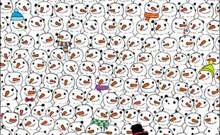 Difficile de retrouver le panda qui se cache parmi tous ces bonshommes de neige.